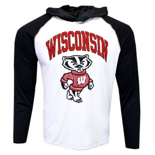 Wisconsin Badgers White & Black Arch Bucky Vortex Hooded Shirt
