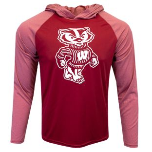 Wisconsin Badgers Red Bucky Solo Vortex Lightweight Hooded Shirt