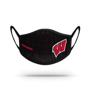 Wisconsin Badgers Black W Dot Face Covering