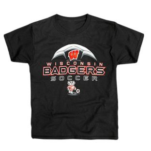 Wisconsin Badgers Soccer Youth Black Cool Ball T-Shirt