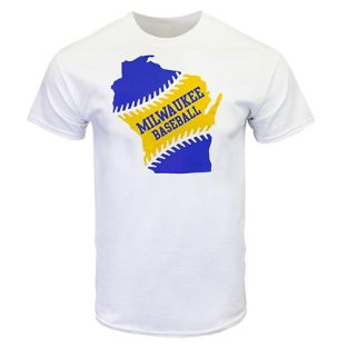 State Of Wisconsin White Baseball T-Shirt