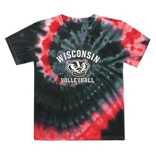 Wisconsin Badgers Youth Volleyball Bucky Tie Dye T-Shirt