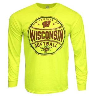 Wisconsin Badgers Softball Safety Green Big Ball Long Sleeved Shirt