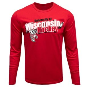 Wisconsin Badgers Hockey Red Former Ace Long Sleeve T-Shirt