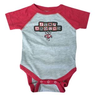 Wisconsin Badgers Infant Heather & Red Jump Around Raglan Onesie
