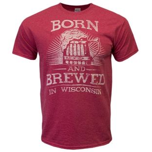 Wisconsin Heather Red Born & Brewed T-Shirt