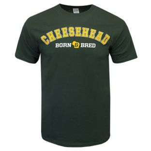 Wisconsin Green Cheesehead Born & Bred T-Shirt