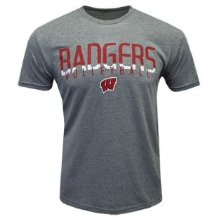 Wisconsin Badgers Volleyball Grey Text Fade Triblend T-Shirt