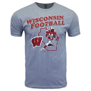Wisconsin Badgers Football Dark Heather Drop Back T-Shirt