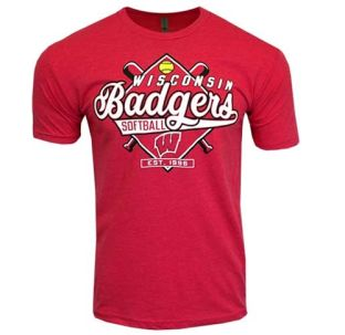 Wisconsin Badgers Softball Red Script Diamond T-Shirt