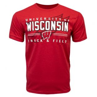 Wisconsin Badgers Track & Field Red Foot T-Shirt
