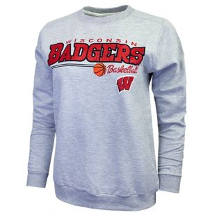 Wisconsin Badgers Basketball Women's Heather Gray Pointer Crew Neck Sweatshirt