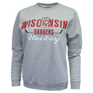 Wisconsin Badgers Hockey Women's Heather Gray Snipe Crew Neck Sweatshirt