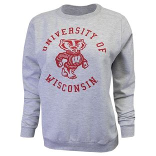 Wisconsin Badgers Women's Heather Gray University Circle Crew Neck Sweatshirt