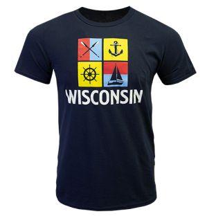 Wisconsin Navy Sail Away T-Shirt