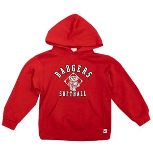 Wisconsin Badgers Softball Red Youth Bucky Bunt Hooded Sweatshirt