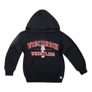 Wisconsin Badgers Wrestling Youth Black Attack Hooded Sweatshirt