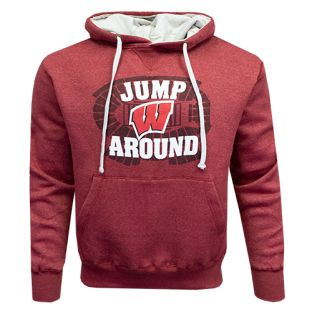 Wisconsin Badgers Heather Red Jump Around Afton Hooded Sweatshirt