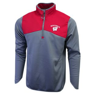 Wisconsin Badgers Red & Gray Arch W Alpine 1/4 Zip