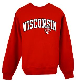 Wisconsin Badgers Red Offset Bucky Arch Crew Neck Sweatshirt