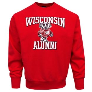 Wisconsin Badgers Red Screen Printed Alumni Allegiance Crew Neck Sweatshirt