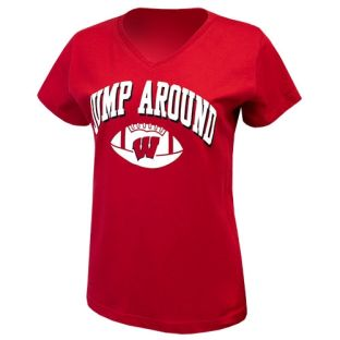 Wisconsin Badgers Women's Football Red Jump Around Arch V-Neck