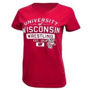 Wisconsin Badgers Wrestling Red Women's Timeless Pin V-Neck