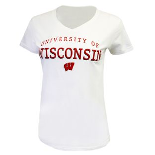 Wisconsin Badgers White Women's Timeless Strong V-Neck T-Shirt