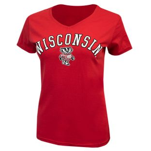 Wisconsin Badgers Red Women's Timeless Happy V-Neck T-Shirt