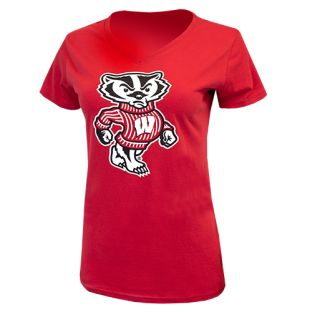 Wisconsin Badgers Red Women's Timeless Bucky V-Neck T-Shirt