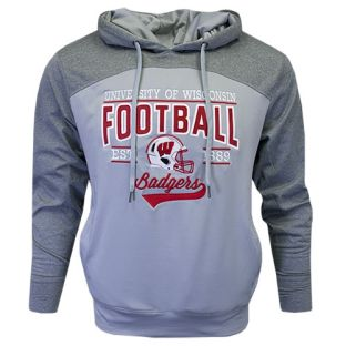 Wisconsin Badgers Gray Football Underdog Polar Hooded Sweatshirt