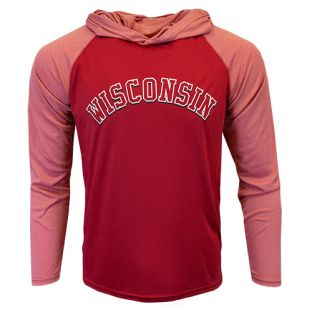 Wisconsin Badgers Red Fan Arch Vortex Long Sleeve Hood