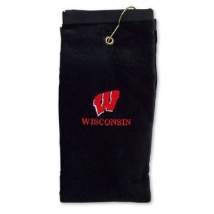 Wisconsin Badgers Embroidered Golf Towel-Black