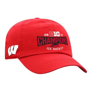 Wisconsin Badgers Top of the World Red 2021 Men's Hockey Big 10 Championship Locker Room Adjustable Cap
