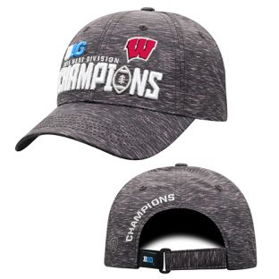 Wisconsin Badgers Football Black 2019 Big Ten West Division Champions Locker Room Adjustable Cap