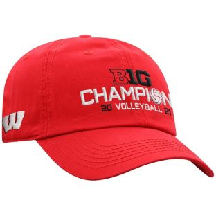 Wisconsin Badgers Red 2020-2021 Volleyball Big 10 Champions Locker Room Adjustable Cap