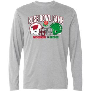 Wisconsin Badgers Gray 2020 Rose Bowl Team Duel Long Sleeve T-Shirt