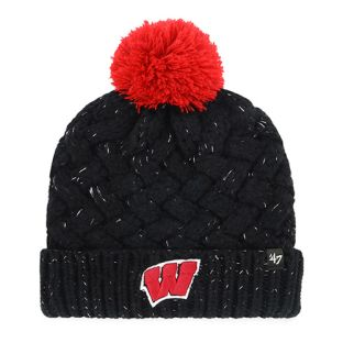 Wisconsin Badgers '47 Brand Black Women's Fiona Cuffed Pom Knit