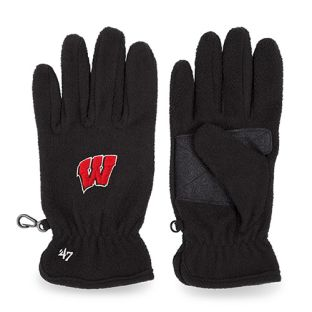 Wisconsin Badgers '47 Brand Black W Logo Fleece Glove