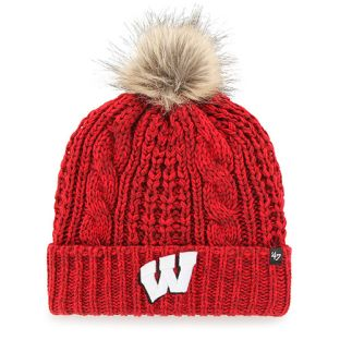 Wisconsin Badgers '47 Brand Red Women's Meeko Cuffed Pom Knit