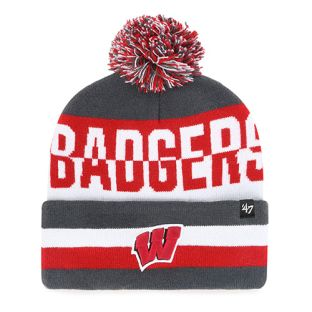 Wisconsin Badgers '47 Brand Split Text Cuffed Pom Knit