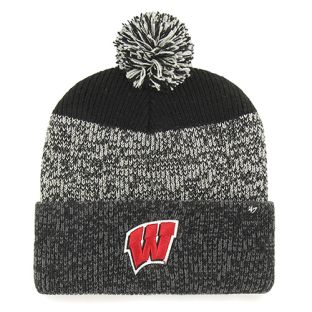 Wisconsin Badgers '47 Brand Black Static Cuffed Pom Knit