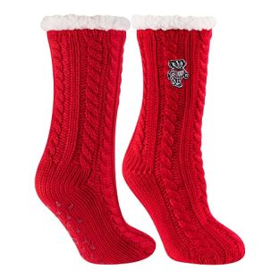 Wisconsin Badgers Red Miss Chalet Lounge Sock