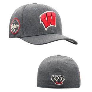Wisconsin Badgers Top of the World Charcoal Alpha 1 Fit Cap