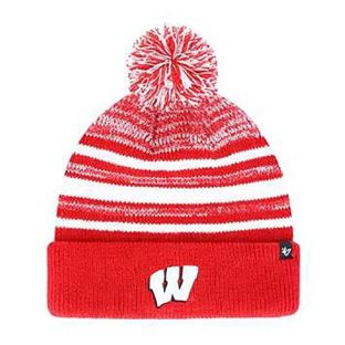 Wisconsin Badgers '47 Brand Youth Red Bubbler Cuffed Pom Knit