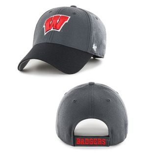 Wisconsin Badgers '47 Brand Charcoal-Black W MVP Adjustable Hat