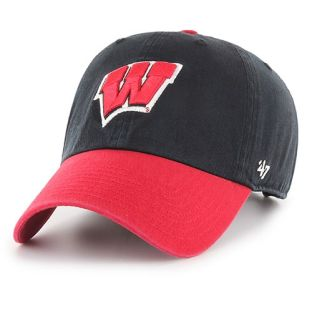 Wisconsin Badgers '47 Brand Black W Two Tone Clean Up Adjustable Hat