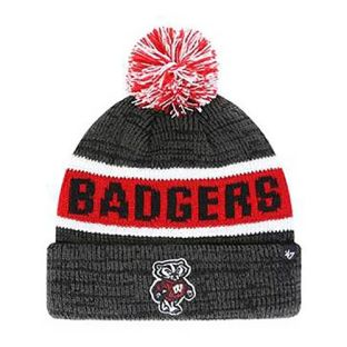 Wisconsin Badgers '47 Brand Youth Black Tadpole Cuffed Pom Knit