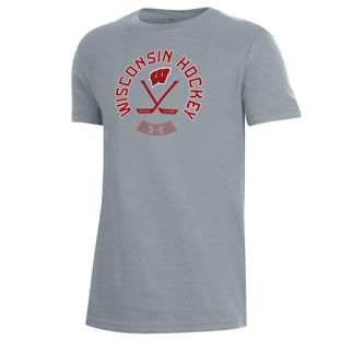 Wisconsin Badgers Under Armour Youth Hockey Target Performance Cotton T-Shirt