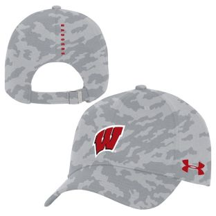 Wisconsin Badgers Under Armour Gray Camo Sideline Novelty Print Adjustable Cap